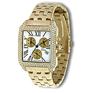 Moog Paris - Think Different - Women / Men Chronograph Watch with white dial, gold strap in stainless steel - - Made in France - M44274F-013