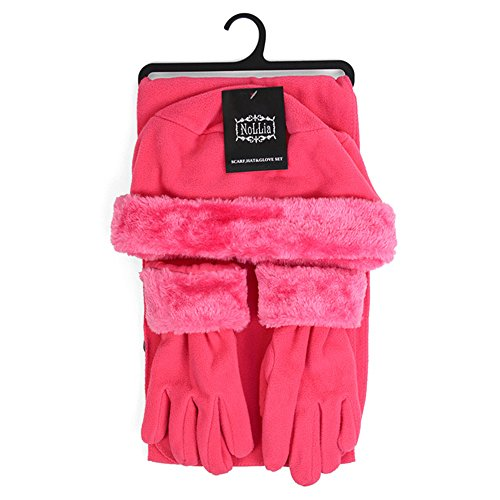 Faux Fur Trim Fleece Hat Scarf & Gloves Winter Set (Hot Pink) ()