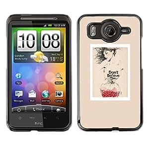 Caucho caso de Shell duro de la cubierta de accesorios de protección BY RAYDREAMMM - HTC G10 - Poster Fashion Red Love Art Beige