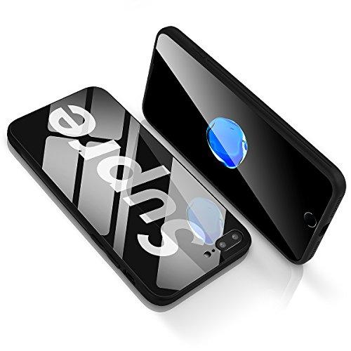 iPhone 8 Plus/7 Plus Tempered Glass Back Case, AICase Supre Fashoin Hard Glass Back Cover Soft TPU Bumper Frame Anti-Fingerprints Anti Scratch Protective Case for Apple iPhone 8 Plus/7 Plus (Black)