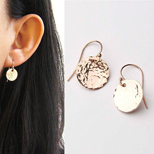 (Modern Medium Circle Earrings-Hammered Texture-Round Small Dangle Drop-Light Catcher-Minimalist-14kGold Filled-Rose GF-Sterling)