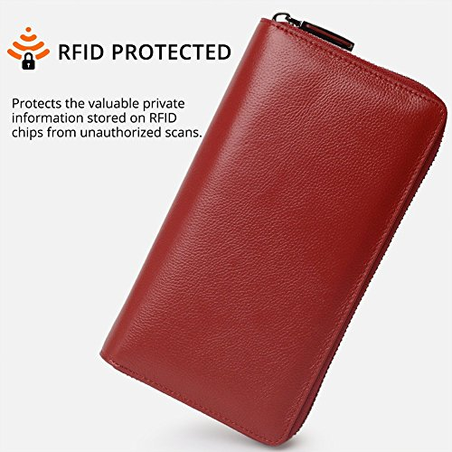 36 Rfid Large Card Women Purse For Wallet Holder Case Credit Multi Zipper Red Leather aggBwq6x