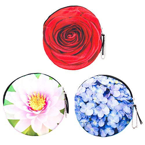 Floral Coin Purse Set for Women, Girls, Tween 3 PCs Pack- Small Round Money Wallets with Photoreal Flowers and Zipper (2)