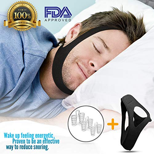 (Anti Snoring Chin Strap - Effective Stop Snoring Solution | Excellent Ventilation, Comfortable Material, Great Fit with Extra Ear Room, Nicely Secured During Sleep, Smell Free)