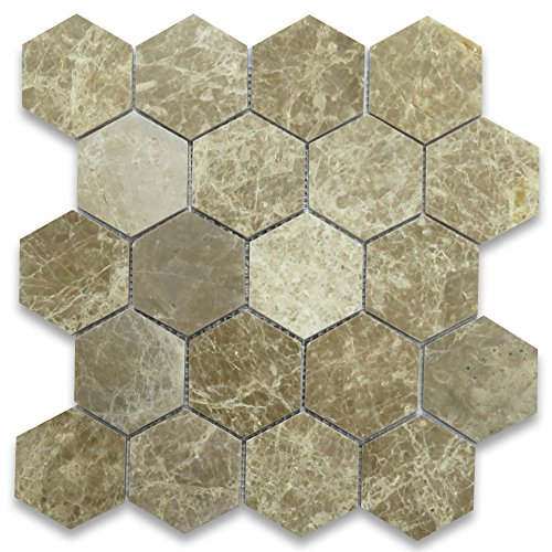 Emperador Light Marble Hexagon Mosaic Tile 3 inch Polished