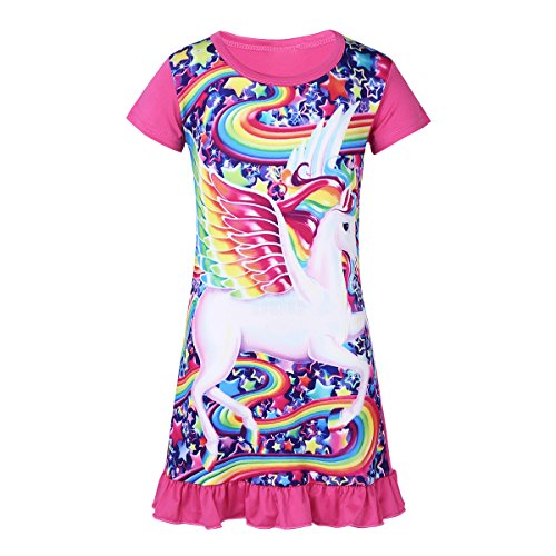 (Freebily Kids Girls Short Sleeves Cartoon Pajamas PJS Costumes Nightdress Sleepwear Rose 2-3)