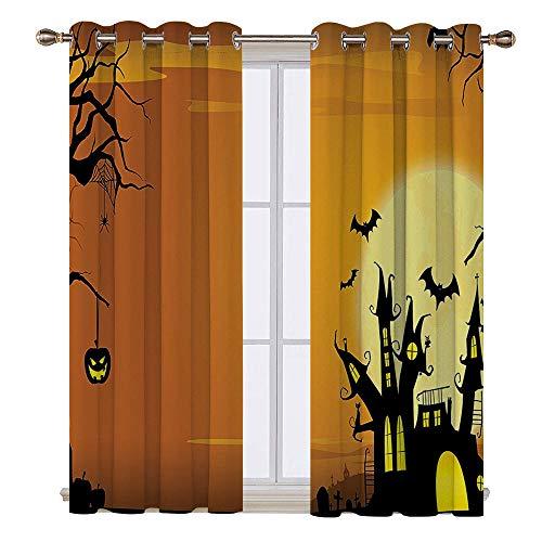 SATVSHOP 100% Blackout Window Curtain Panels - 120W x 96L Inch- Liner for Nursery.Gothic Haunted House Theme Flying Bats Tern Spooky Night Scene with Pumpkin Orange Black.]()
