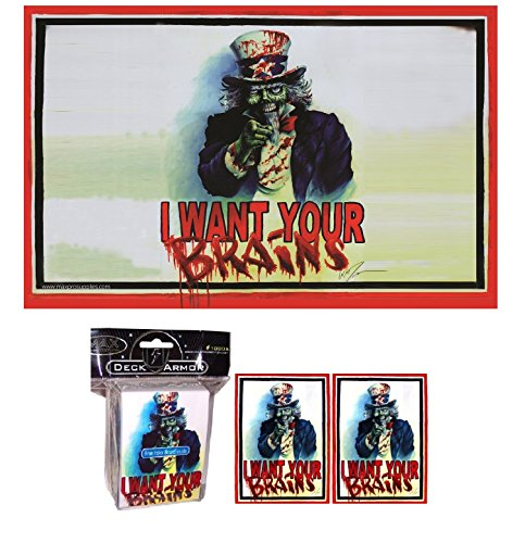 I Want Your BRAINS! ZOMBIE Playmat + DECK BOX + 100 Matching GLOSS Finish Sleeves (fits Magic / MTG Cards) by MAX -