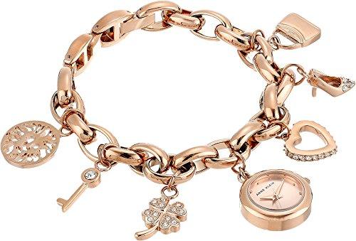 (Anne Klein Women's  Swarovski Crystal Accented Rose Gold-Tone Charm Bracelet Watch)