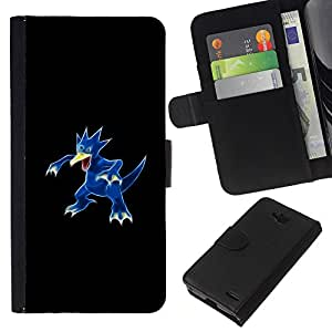 KLONGSHOP // Tirón de la caja Cartera de cuero con ranuras para tarjetas - Meter Monster Blue Duck - LG OPTIMUS L90 //
