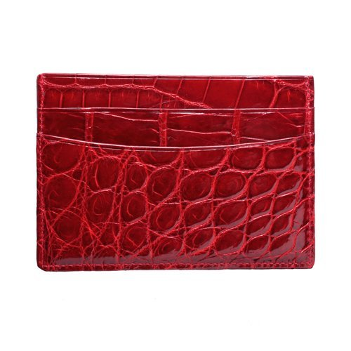 Trafalgar Men's American Alligator Card Case Wallet,Red