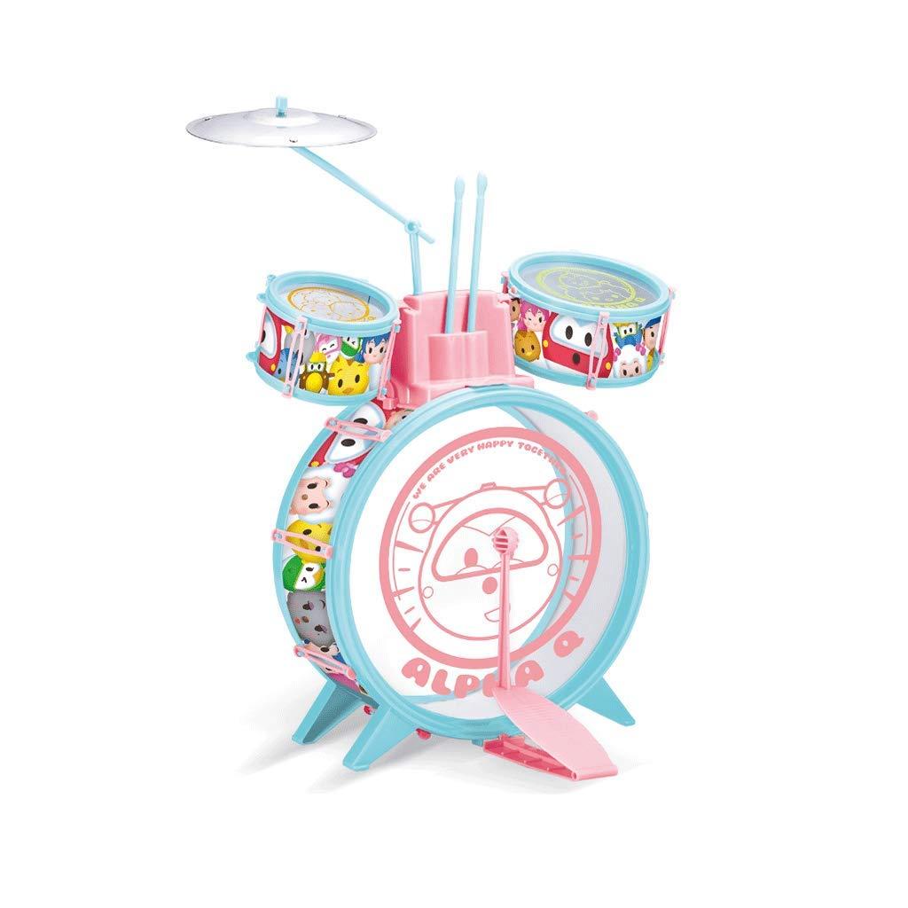 HXGL-Tambor Los Principiantes de los niños Bate el Tambor Juguete de Dibujos Animados timpánico Transparente 3-6 años (Color : Claro)