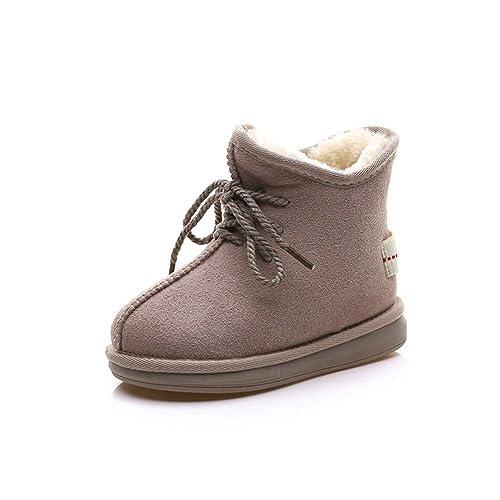 4069dde31 Botas de Invierno para niños Botas de Nieve de Felpa cálida Moda Negro Beige  Botines de Cuero para niñas niños Zapatos de Nieve Ocasionales  Amazon.es   ...