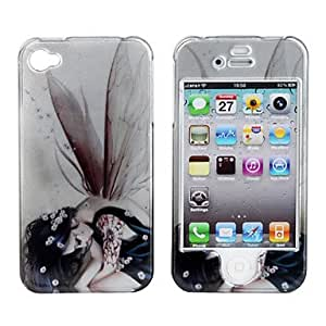YXF Protective Smooth Polycarbonate Back and Front Case for iPhone 4 and iPhone 4S (Tattooed Girl and Wing)