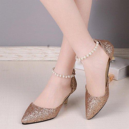 Sommer Sandalen Frauen wiesen hochhackige Schuhe mit dünner Schnalle Perle Pailletten Schuhen Gold