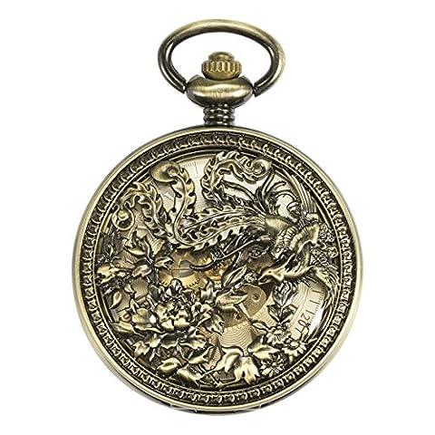 ManChDa Bronze Automatic Mechanical Skeleton Pocket Watch Lucky Phoenix Bronze + Gift Box (Vintage Style Pocket Watch)