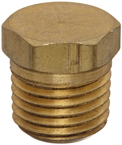 Anderson Metals 56121 Brass Pipe Fitting, Cored Hex Head Plug, 1/4