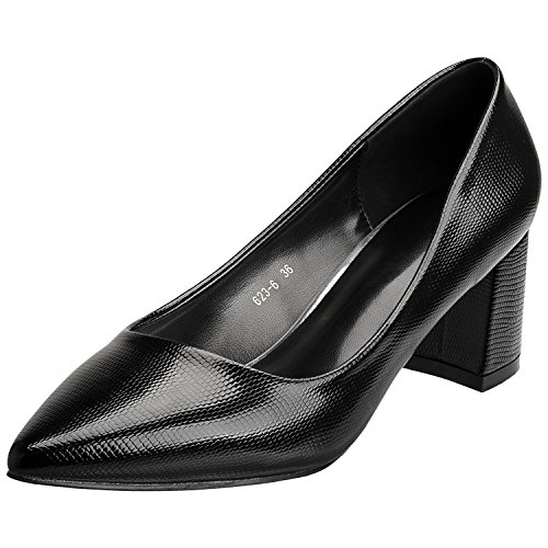 SANMIO Women Heels, Pumps Shoes for Women Fashion Slip On Pointed Toe Low Heel Bridal Wedding Party Pumps (8 B(M) US = Lable 39, Black) by SANMIO