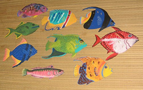 Hand Painted Metal Art (Hand Painted Metal Art Set of 9 Tropical Fish Wall Hanging)