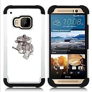 """HTC One M9 /M9s / One Hima - 3 en 1 impreso colorido de Altas Prestaciones PC Funda chaqueta Negro cubierta gel silicona suave (Vikingo Dios Guerrero"""")"""