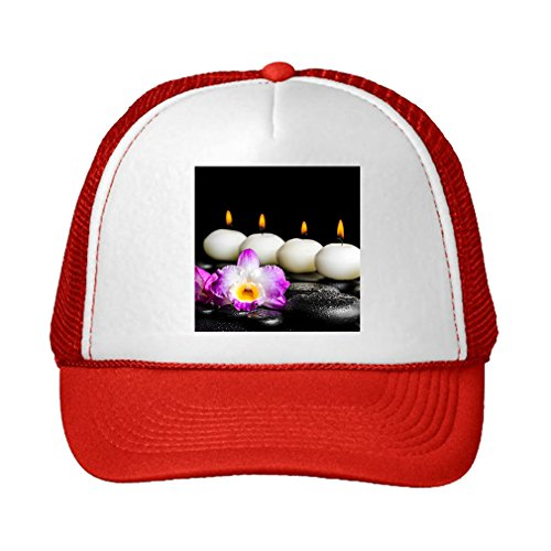 Red Dendrobium Orchid (Speedy Pros Spa Still Life Purple Orchid Dendrobium Adjustable High Profile Trucker Hat Cap Red)