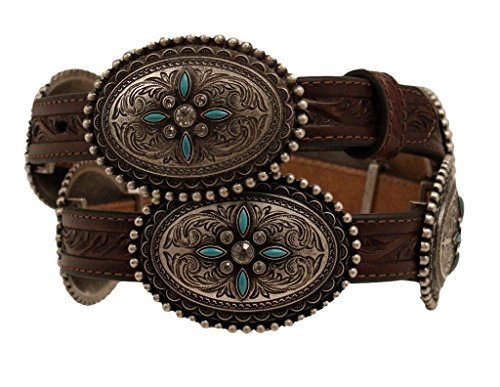 [Ariat Women's Oval Concho Belt Brown Small] (Womens Concho)