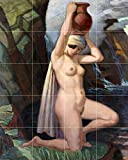 Tile Mural Water Carrier by Ludwig von Hofmann girl woman nude waterfall jug jar Kitchen Bathroom Shower Wall Backsplash Splashback 4x5 4.25'' Ceramic, Glossy