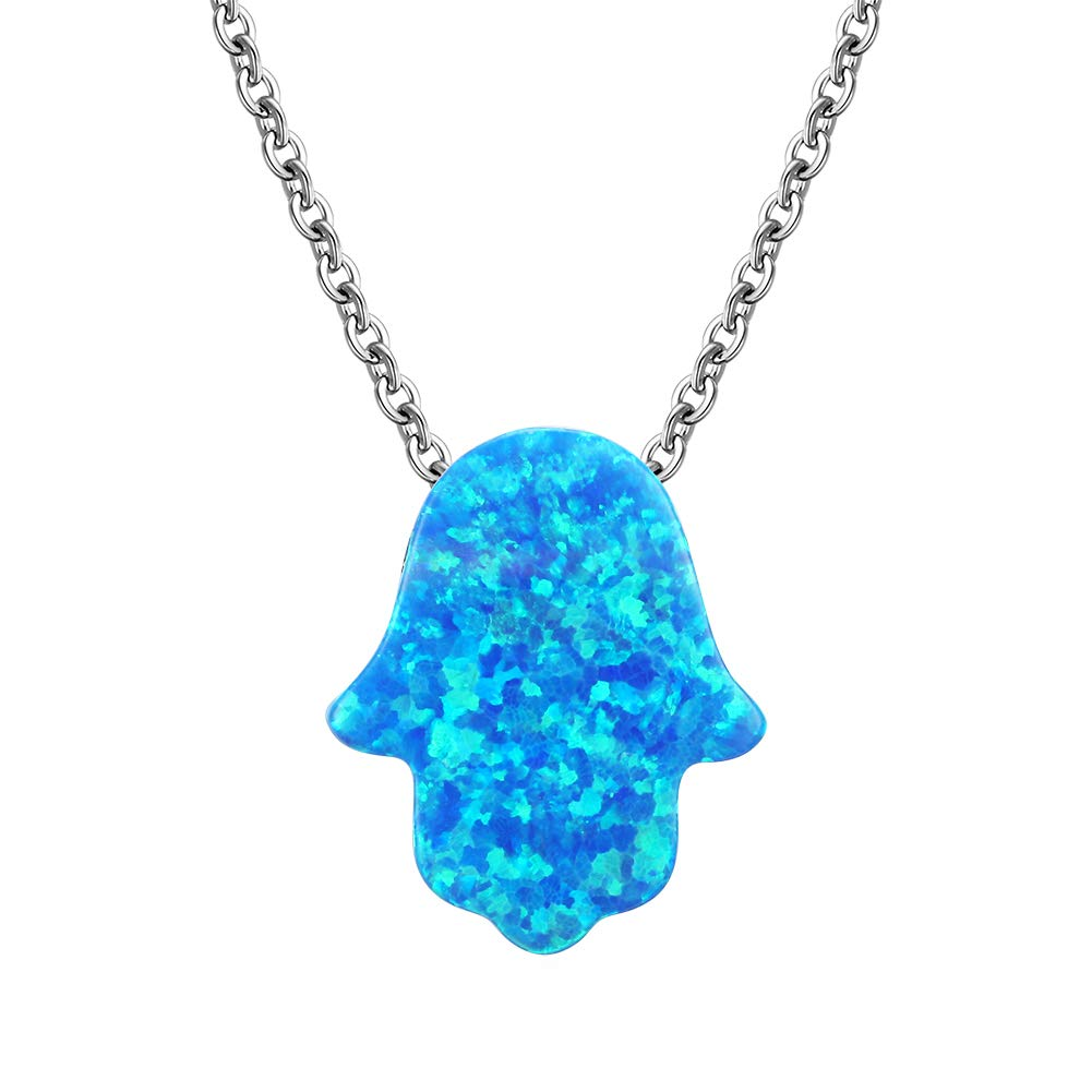 Shakespecial Hamsa Hand of Fatima Pendant Necklace Sterling Silver 925 Synthetic Opal w Cable Chain 18
