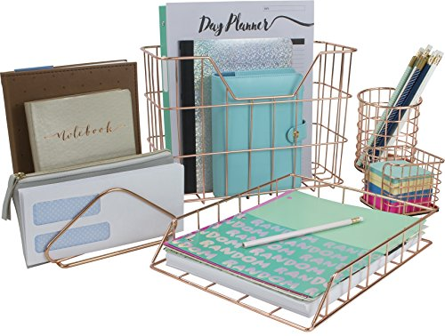 Sorbus Desk Organizer Set, 5-Piece Desk Accessories Set Includes Pencil Cup Holder, Letter Sorter, Letter Tray, Hanging File Organizer, and Sticky Note Holder for Home or Office (Copper/Rose ()
