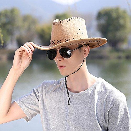 QiangDa-mao QIANGDA Sun Hat Men Breather Hole Sunscreen Adjustable Wind Rope Outdoor Fashion, 4 Colors Optional (Color : Khaki)