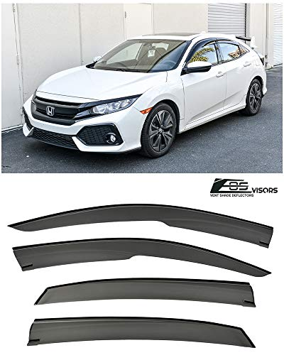 (Extreme Online Store for 2016-Present Honda Civic Hatchback Models | EOS Visors JDM Mugen Style Smoke Tinted Side Vents Rain Guard Window Deflectors )