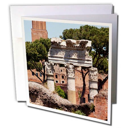 3dRose Danita Delimont - Italy - Forum of Julius Caesar, Trajan Market in Background, Rome, Italy - 6 Greeting Cards with envelopes - Forum Caesars