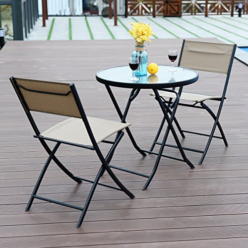 3 Piece Table Chair Set Metal Tempered Glass Folding Outdoor Patio Garden Pool by unbrand