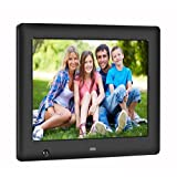 Apzka 8-Inch 4:3 IPS Screen Digital Photo Frame Support Display Photos Music Video 2G Internal Memory High Resolution Calender Date Display Motion Sensor with Remote Control (Black)