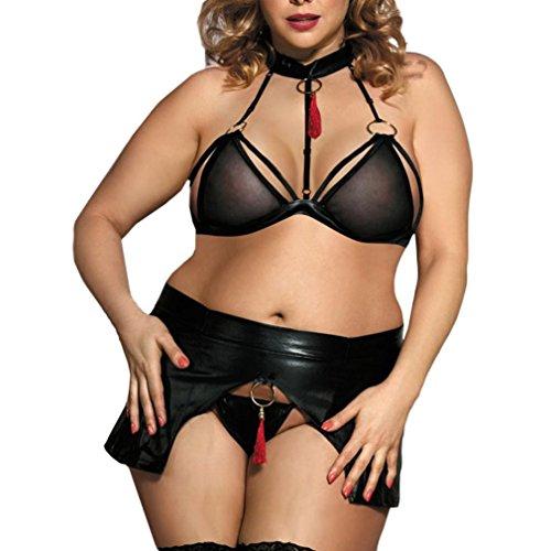 Taille Ensemble Cuir Lingerie sous en Vtements Costumes Noir Femmes Vtements Plus Sexy PqF15