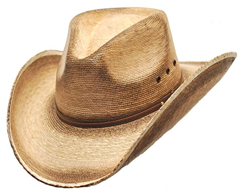 Western Express Pinch Front Palm Hat Size S Light Brown Distressed Straw Cowboy Hat