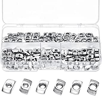 20 Series T Nuts M3/ M4/ M5 T Slot Nut Hammer Head Fastener Nut Assortment Kit for Aluminum Profile (150 Pieces)