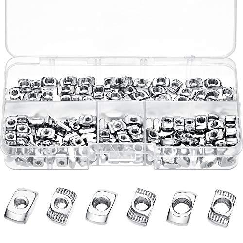 (20 Series T Nuts M3/ M4/ M5 T Slot Nut Hammer Head Fastener Nut Assortment Kit for Aluminum Profile (150 Pieces))