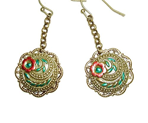 EMBOSSED VICTORIAN FLORAL Earrings Dangle Drops Very Detailed Antiqued Bronze Ornaments