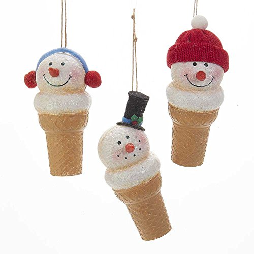 Kurt Adler 5.5-Inch Foam Snowman Ice Cream Ornament Set of 3