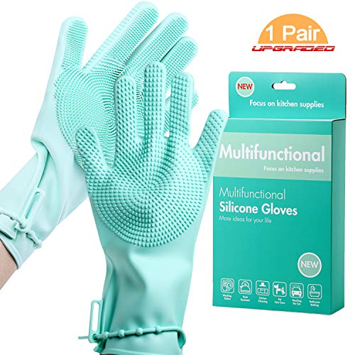 Dishwashing Gloves with Non-Slip Strap,Epartswide Magic Silicone Dishwashing Scrubber,1 Pair Versatile Reusable Silicone Gloves for Kitchen Cleaning/Pet Care/Washing The Car/Bathroom Bathing (Cyan)