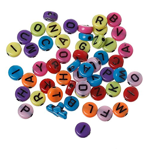 Letter Alphabet Spacer Beads 7mm (1/4), 1000 Pc Mixed Colors