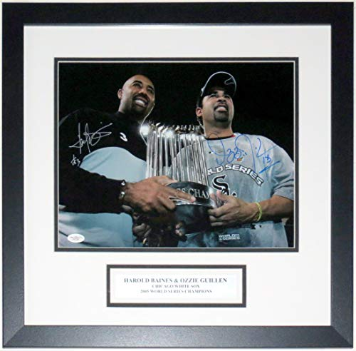 Ozzie Guillen & Harold Baines Dual Signed 2005 Chicago White Sox World Series Champions 11x14 Photo - JSA COA Authenticated - Professionally Framed & Plate