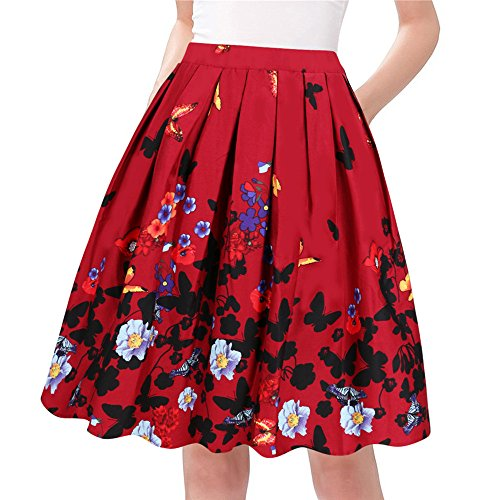 Taydey A-Line Pleated Vintage Skirts for Women (S, Wine Red Flower) -