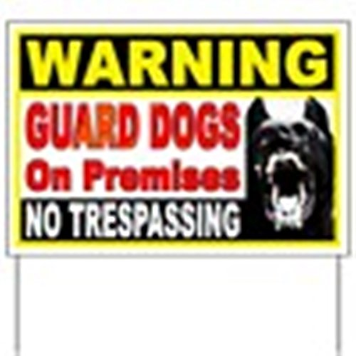 CafePress - Warning Guard Dogs Yard Sign - Yard Sign, Vinyl Lawn Sign, Political Election Sign