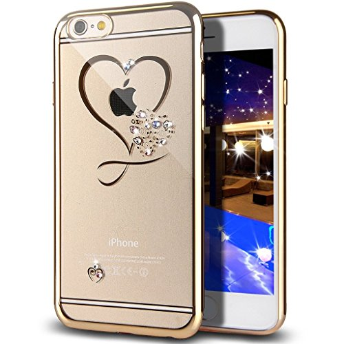 iPhone 7 Case,Double-Lin Mini Love Heart Glitter Bling Crystal Rhinestone Diamonds Clear Rubber Plating Frame TPU Soft Silicone Bumper Case Cover for iPhone 7 Gold Abc Soft Mini Corner