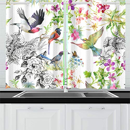 MOVTBA Folding Umbrella Flower Pattern Bird Peony Colorfu Kitchen Curtains Window Curtain Tiers for Café, Bath, Laundry, Living Room Bedroom 26 X 39 Inch 2 Pieces ()