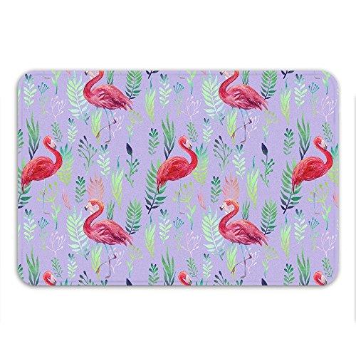 Pink Flamingos Bath Mat Memory Foam Non Slip Mildew Resistant Beach Theme (Sharp Flamingo)