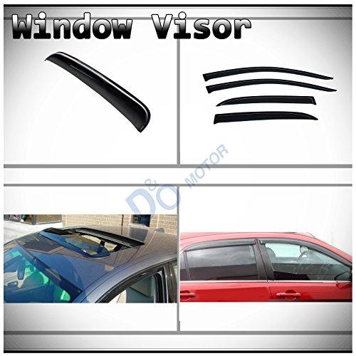Top D&O MOTOR 5pcs Combo JDM Smoke Tape-On Moon Roof Shield+Sun/Rain Guard Outside Mount Vent Shade Window Visors For 03-07 Honda Accord 4-Door Sedan
