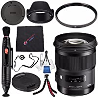 Sigma 50mm f/1.4 DG HSM Art Lens for Sony A #311205 + Lens Pen Cleaner + Microfiber Cleaning Cloth + Lens Capkeeper + Deluxe Cleaning Kit + Flexible Tripod Bundle (International Model No Warranty)